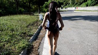 Skinny Desi Babe Naked Outdoor