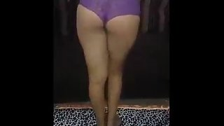 Cute Juicy Indian Babe In Purple Lingerie Strips Naked