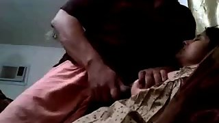 Indian Men Rubbing Cock On His Wife Soft Boobs