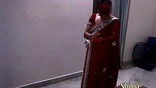 Beautiful Hot Indian Wife Shilpa In Red Sari